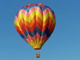 a colorful hot air balloon referencing higher consciousness