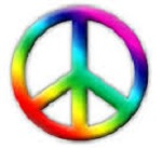 a multicolored peace symbol referencing our higher self