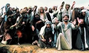 Monty Python's life of Brian cast in character referencing spirit in expression, intuition