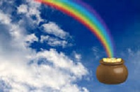 a rainbow ending in a pot of gold referencing being happy