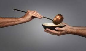 one hand with a soup bowl, another hand ladling soup referencing the power of generosity