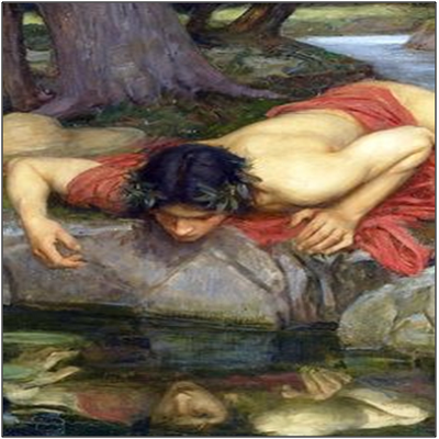 a painting of Narcissus looking at his reflection in water referencing self love