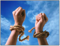 two hands in the air withe rope around the wrisits and the rope is cut freeing both hands referencing anxiety